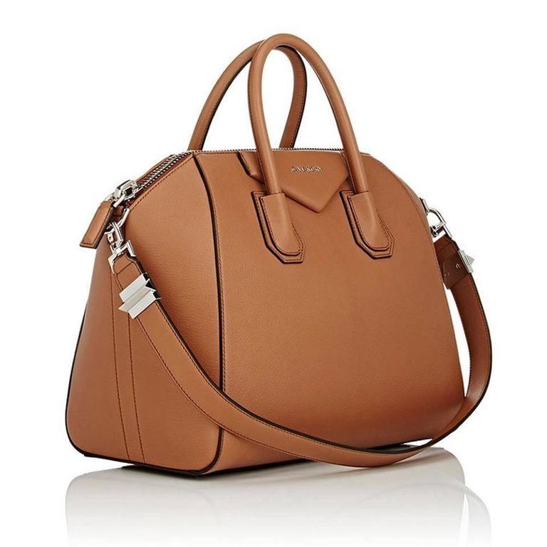 Brown Givenchy Antigona Medium Calfskin Duffle Shoulder Bag, Caramel For Sale