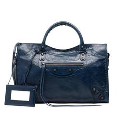 Balenciaga Classic City Bleu Obscure Handbag Satchel