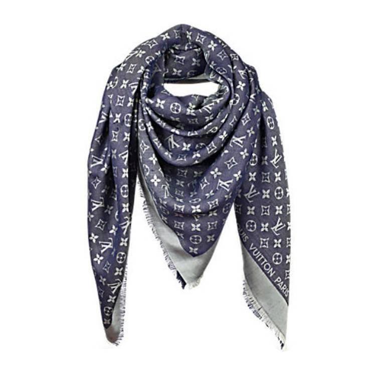 louis vuitton monogram shawl blue denim m71376 for sale