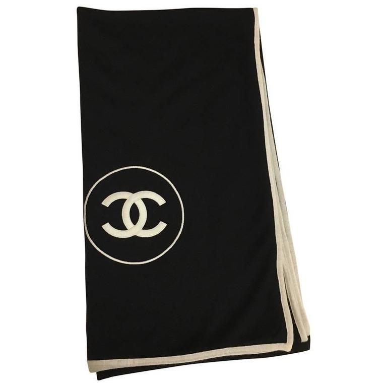 Chanel Cashmere Silk CC Logo Black Stole