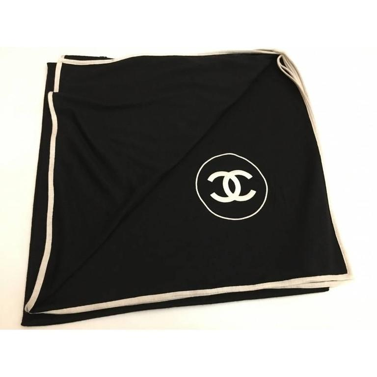 Chanel Cashmere Silk CC Logo Black Stole 1