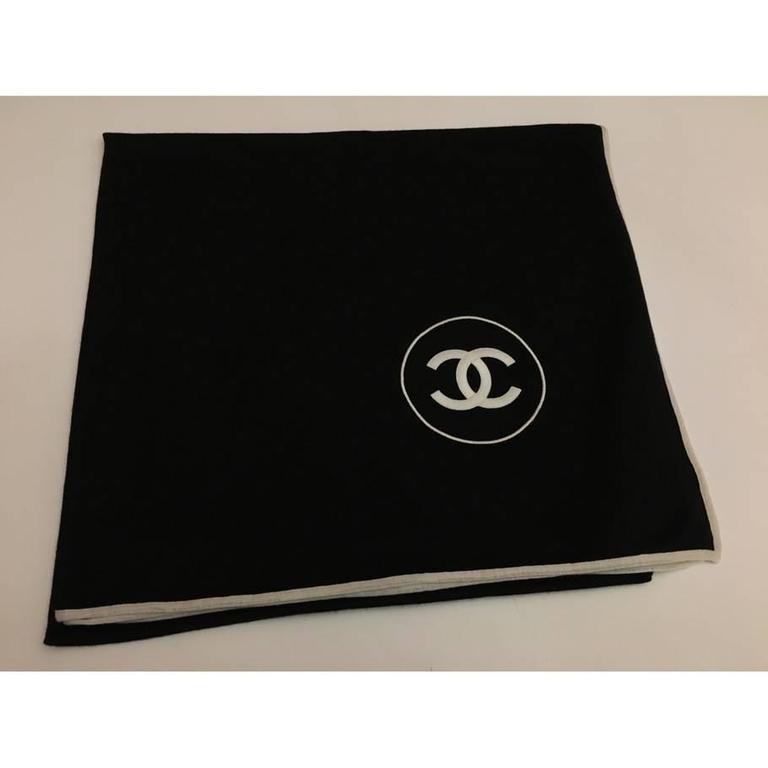 Chanel Cashmere Silk CC Logo Black Stole In Excellent Condition In Los Angeles, CA