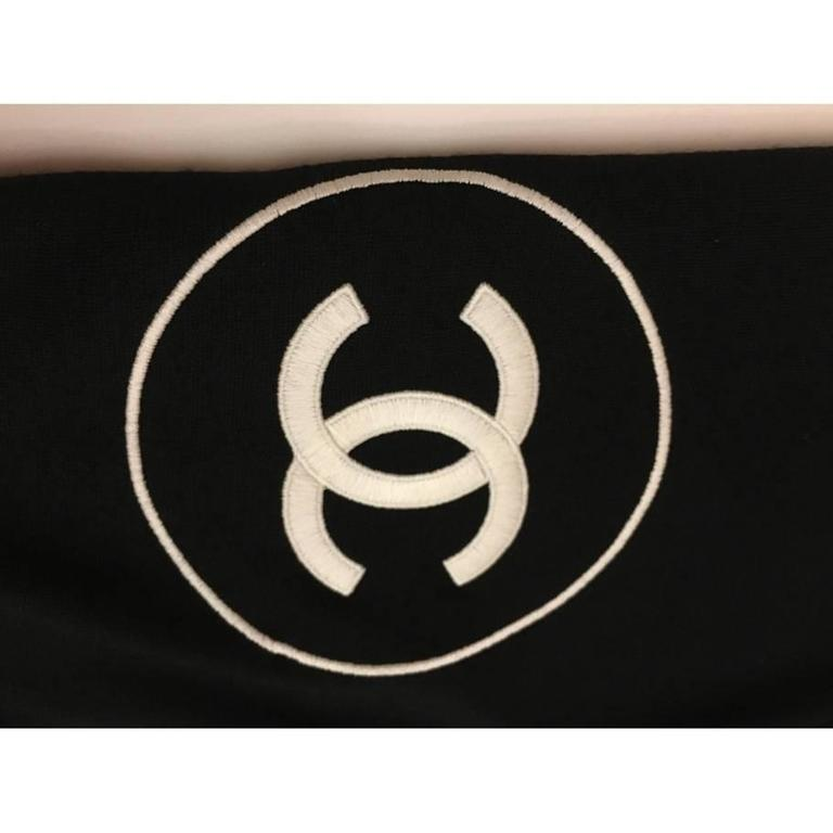 Chanel Cashmere Silk CC Logo Black Stole 2