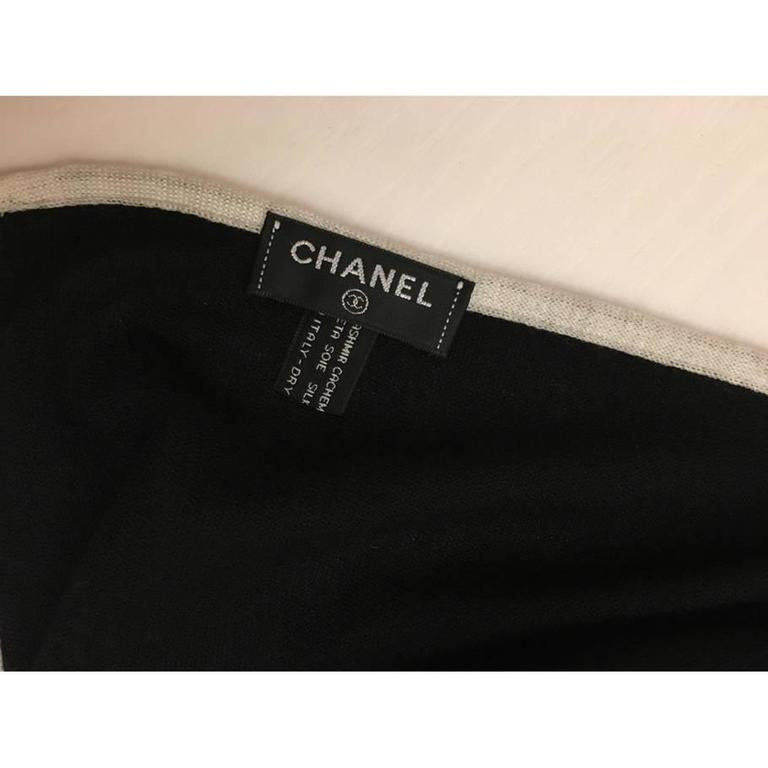 Chanel Cashmere Silk CC Logo Black Stole 3