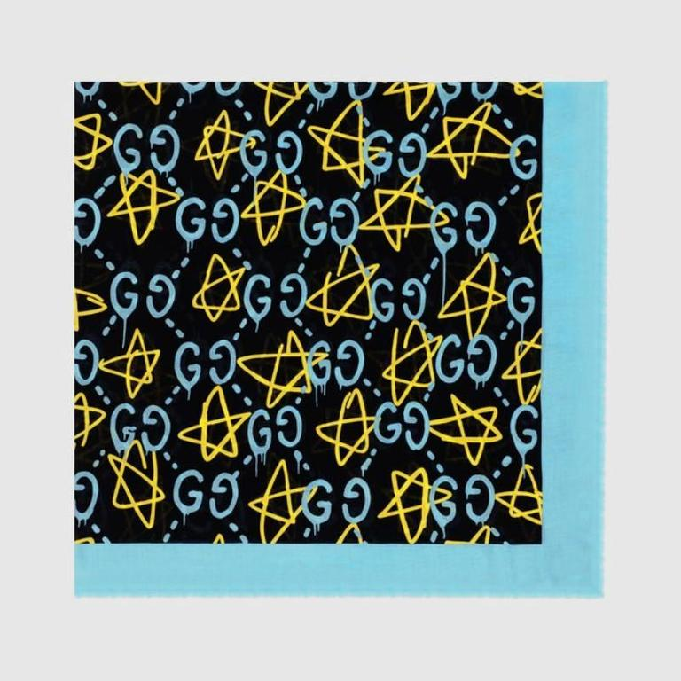 Gucci Ghost Print Blue Modal Silk Shawl At 1stdibs