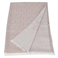 Gucci GG Monogram Wool & Silk Beige Shawl