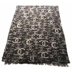 Chanel CC Logo and Spacemen Reversible Cashmere Scarf