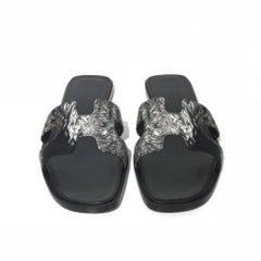 Hermes Oran Black Sandals (Size - 8)