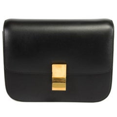 Celine Box Black Calfskin Shoulder Bag - Medium