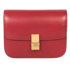 Celine Box Red Calfskin Leather Classic Shoulder Bag