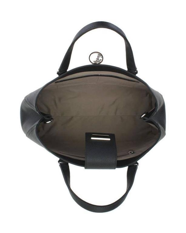 Versace Collection Pebbled Leather Handbag Black Satchel 4