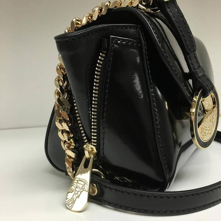 Versace Collection Patent Leather Mini Black Satchel 2