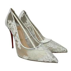 Christian Louboutin Follies Lace Pointed Toe White Pumps