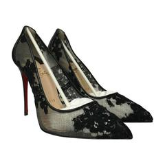 Christian Louboutin Follies Lace Pointed Toe Black Pumps