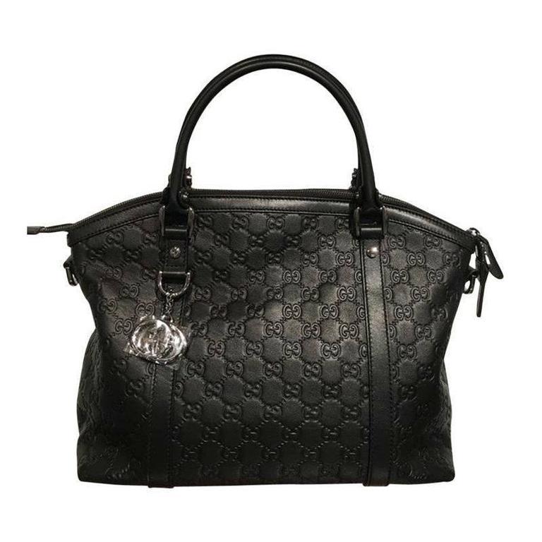 gucci leather handbag black tote bag at 1stdibs