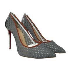 Christian Louboutin Follies Resille Suede-trimmed Mesh Gray Pumps