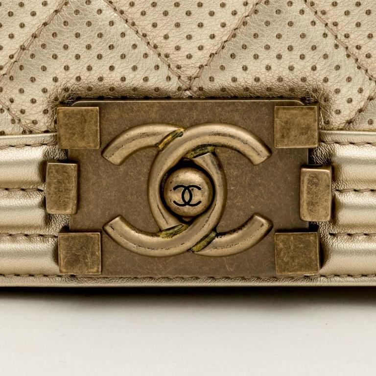 Chanel Perforated Quilted Leather Gold For Sale 2