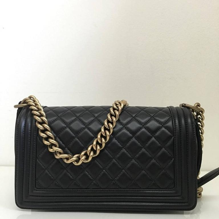 Chanel Quilted Old Medium Le Boy Flap Nappa Black 2