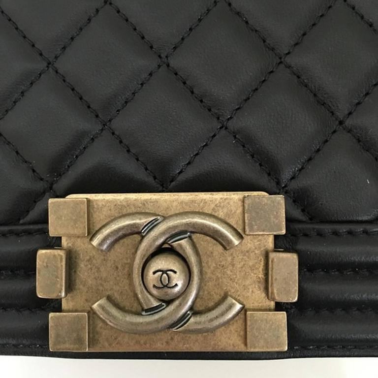 Chanel Quilted Old Medium Le Boy Flap Nappa Black 4