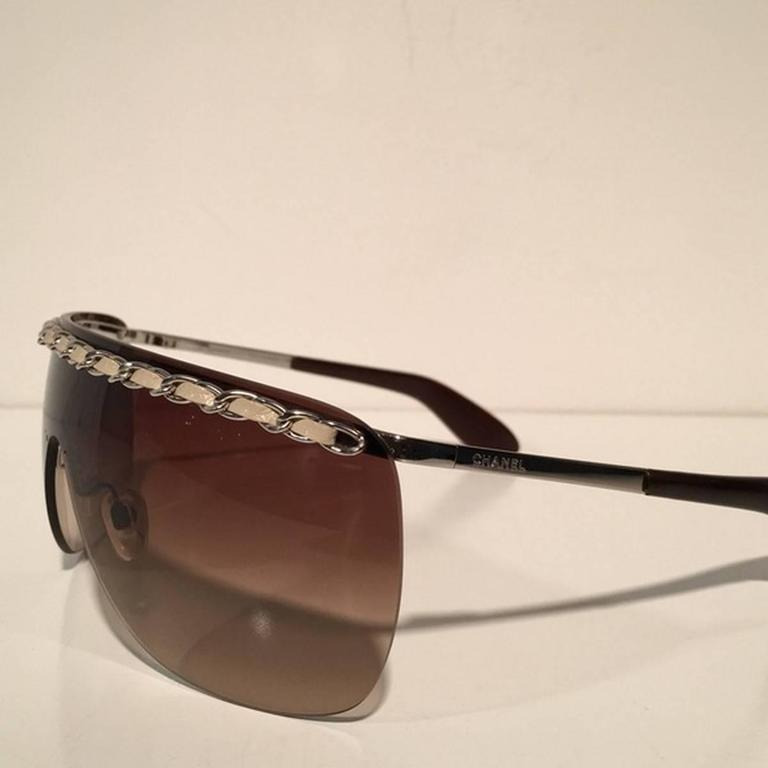 Chanel Brown Shield Braided Leather Sunglasses 2