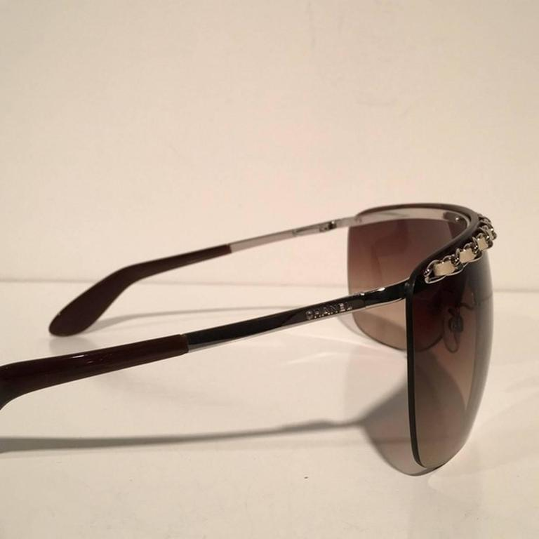 Chanel Brown Shield Braided Leather Sunglasses 3