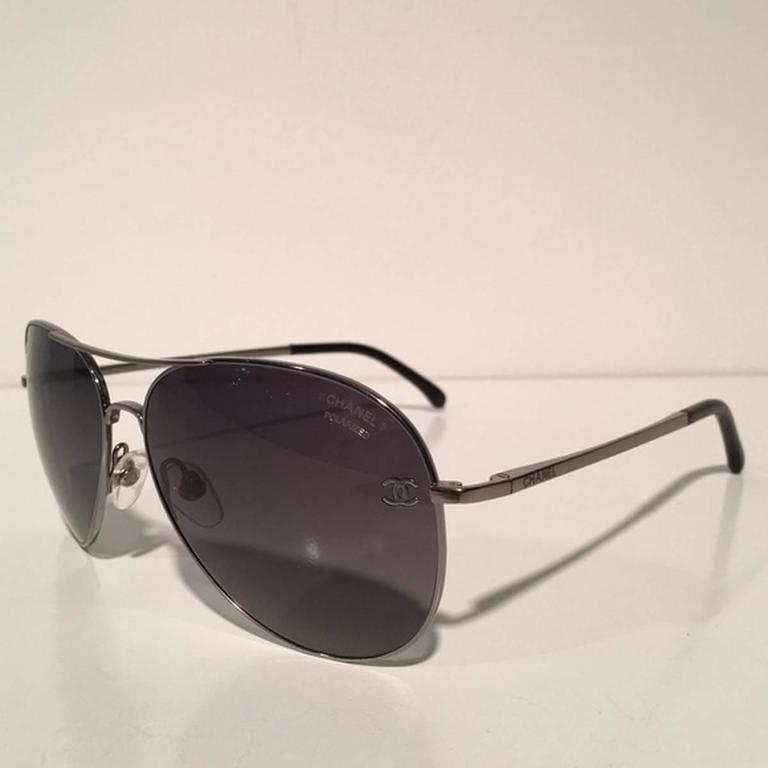 f19ffdea340 Chanel Silver Polarized Aviator Sunglasses at 1stdibs. New Polarized Chanel  4204Q Brown Leather Gold Aviator 2015 ...