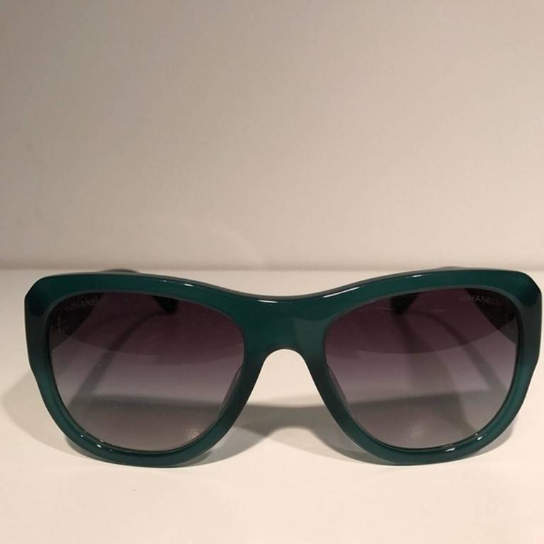 Chanel Rectangular Sunglasses Black Green 2