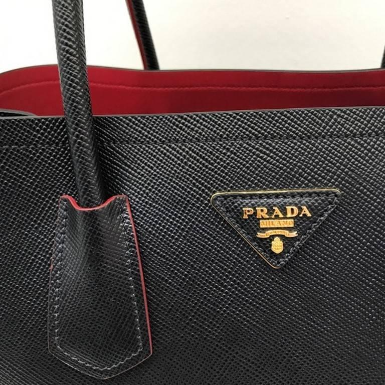 23cc1b531f ... aliexpress prada saffiano cuir leather double bag tote black at 1stdibs  6d221 ce164