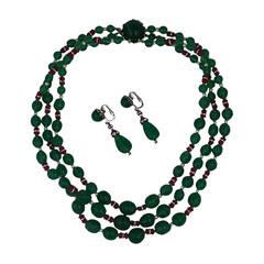 Emerald Pate de Verre Suite