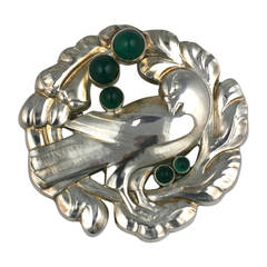 Georg Jensen Bird Brooch with Crysophrases