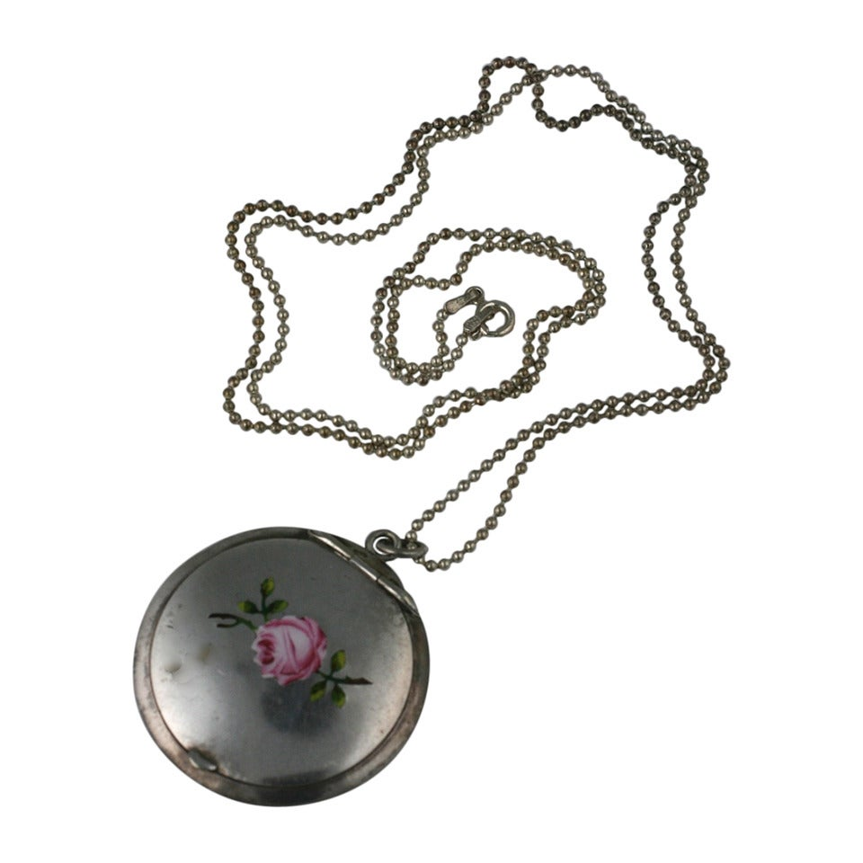 Victorian Enamel Rose Locket For Sale
