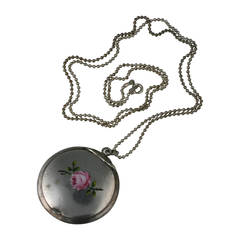 Victorian Enamel Rose Locket