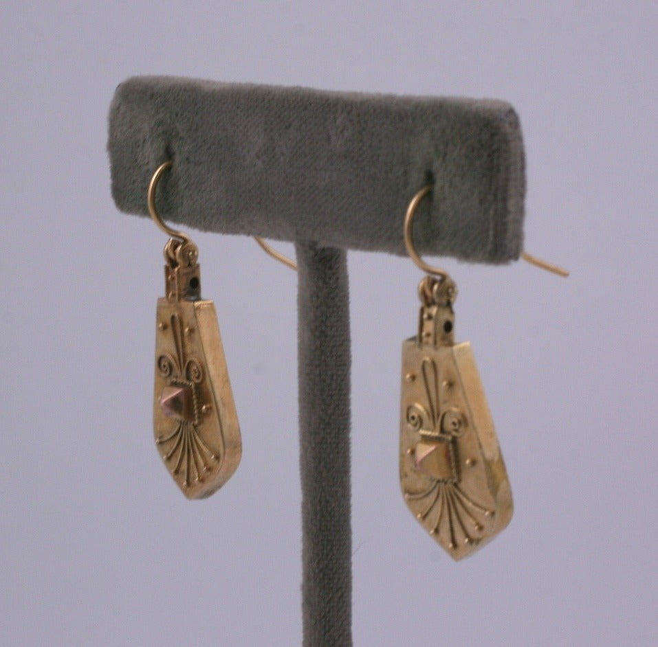 Cool Victorian drop earrings of yellow and pink 14kt gold in the Aesthetic taste. Earrings are of 14k gold, Earwires are gold filled. 1880's USA.