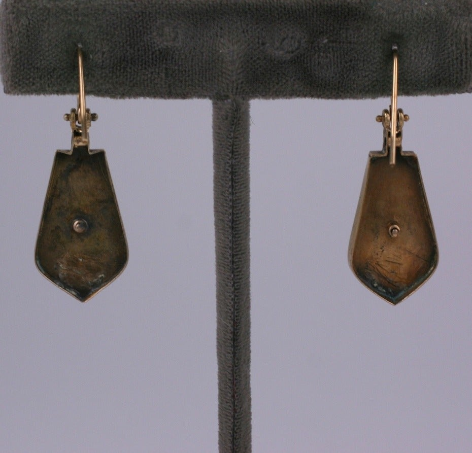 Victorian Aesthetic Nailhead Drop Earrings In Excellent Condition For Sale In Riverdale, NY