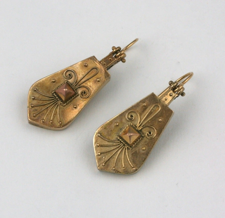 Women's Victorian Aesthetic Nailhead Drop Earrings For Sale