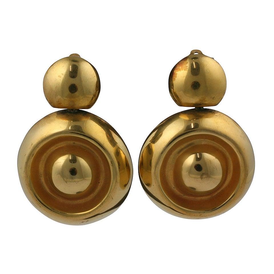 Steve Vaubel Gilt Earrings For Sale