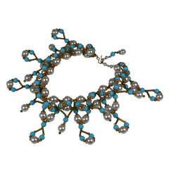 Italian Faux Pearl, Turquoise and Gilt Collar