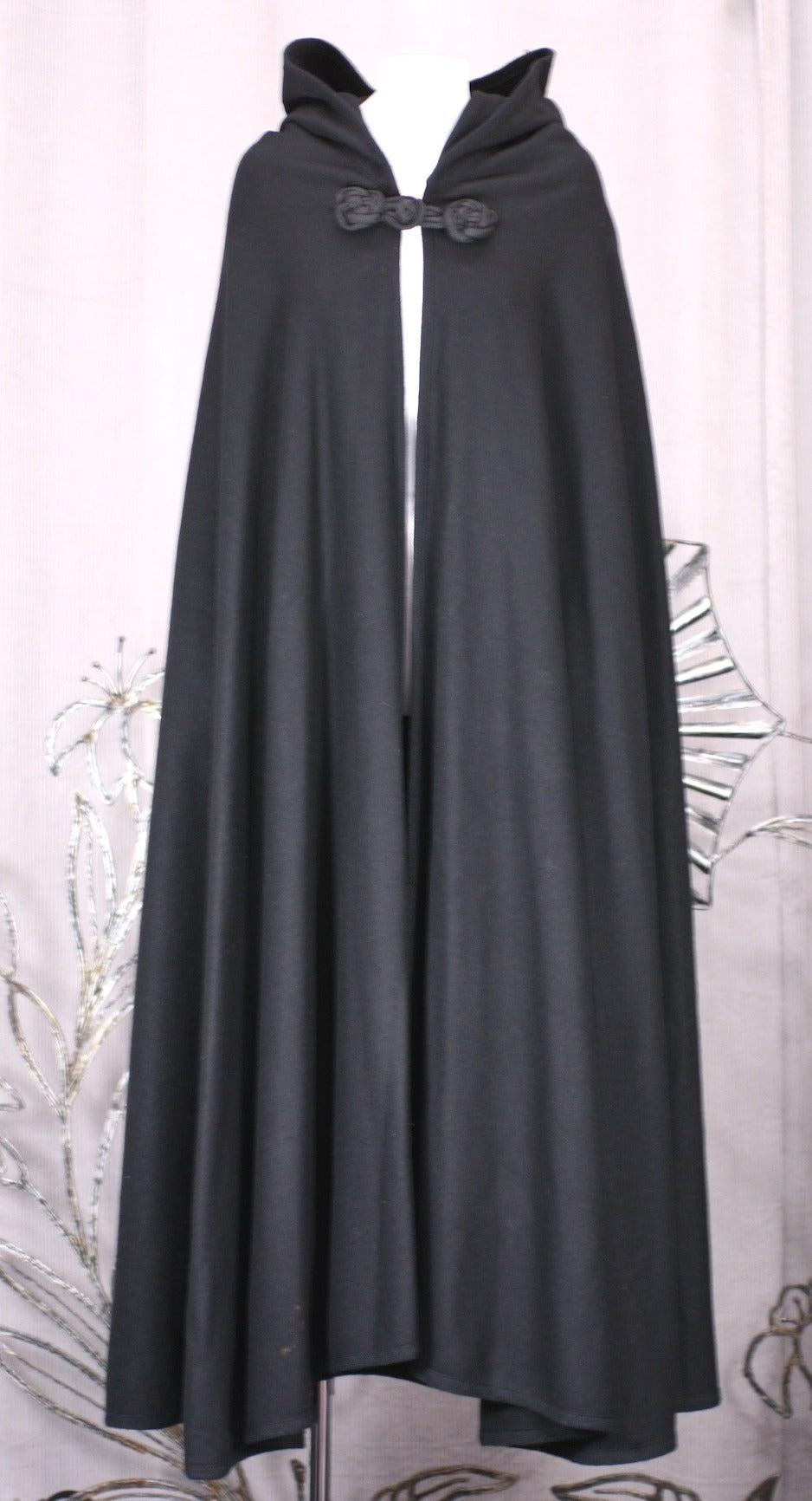 Black Wool Melton Cape, Attrib. YSL For Sale