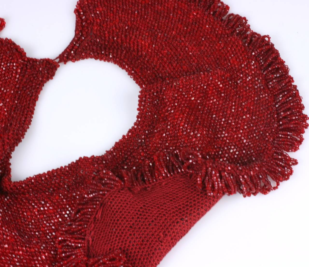 Charming hand crochet ruby glass beaded collar with looped edge trim. Can be worn in many configurations. 15.5