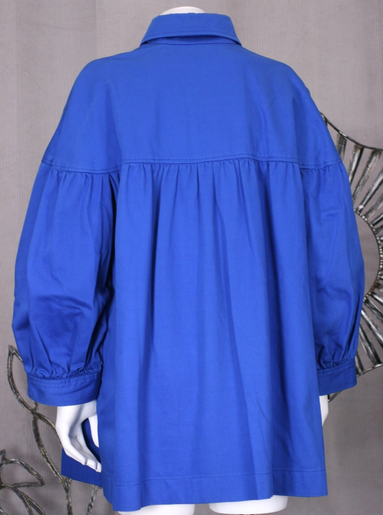 Blue Iconic YSL Cotton Twill Blouse For Sale