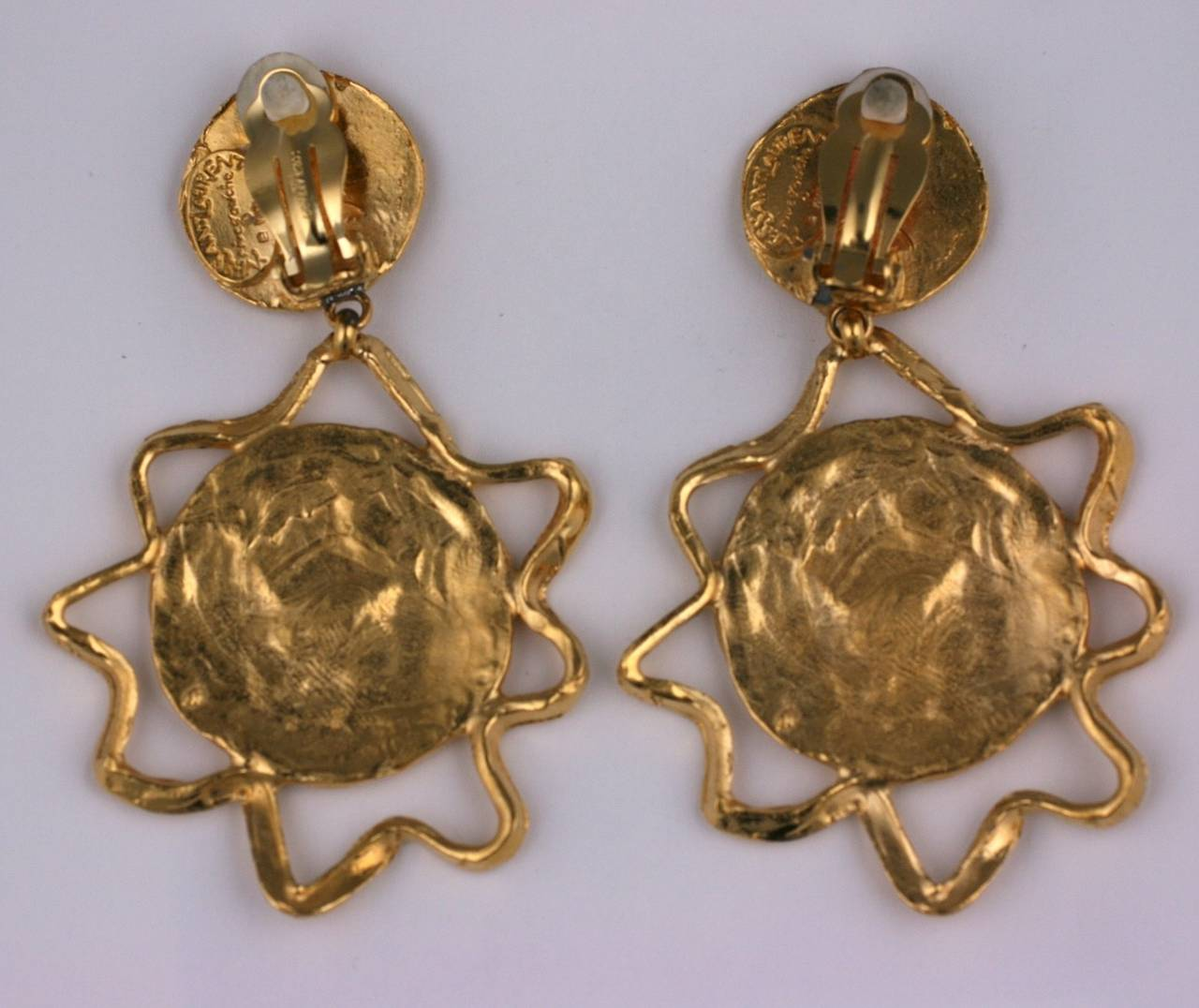 Byzantine Yves Saint Laurent Gilt Thistle Long Earrings For Sale