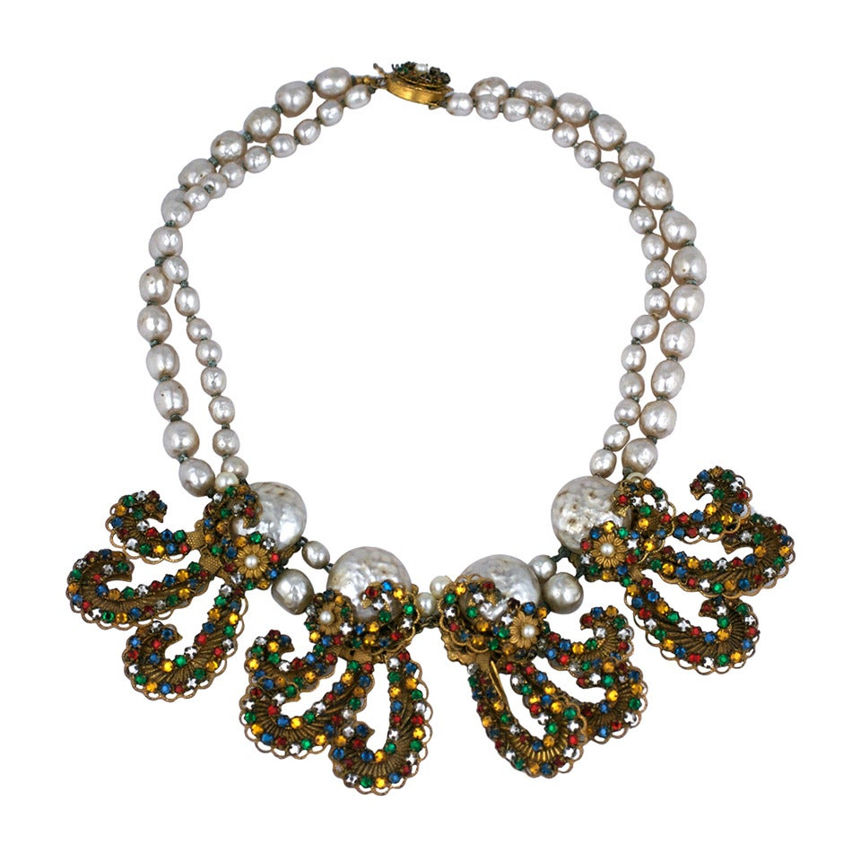 Miriam Haskell Anglo Indian Festoon Necklace 1