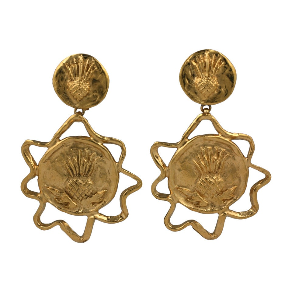 Yves Saint Laurent Gilt Thistle Long Earrings For Sale