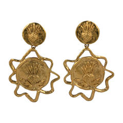 Yves Saint Laurent Gilt Thistle Long Earrings