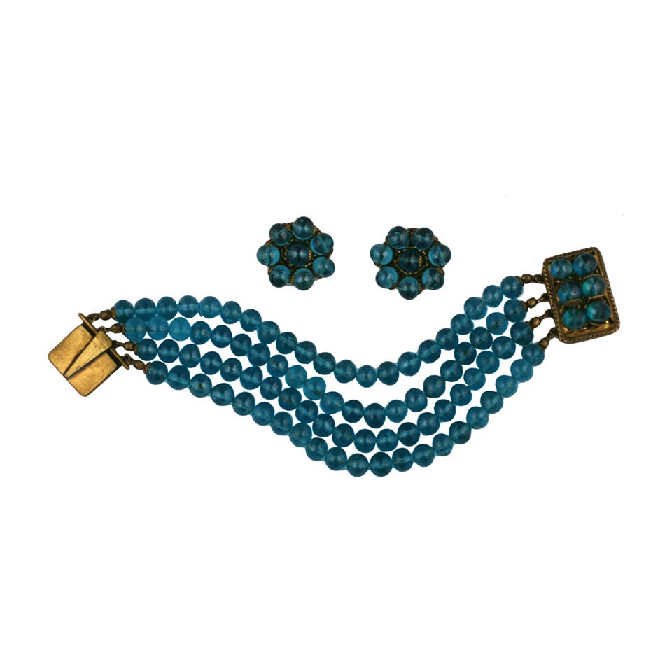 Coppola e Toppo Aqua Glass Demi Parure For Sale