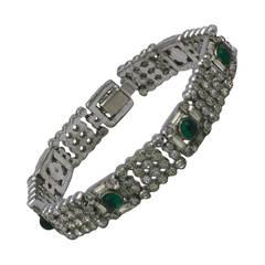 Art Deco Emerald Cab Bracelet
