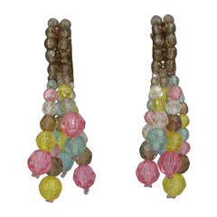 Coppola e Toppo Pastel Crystal Tassel Long Earrings