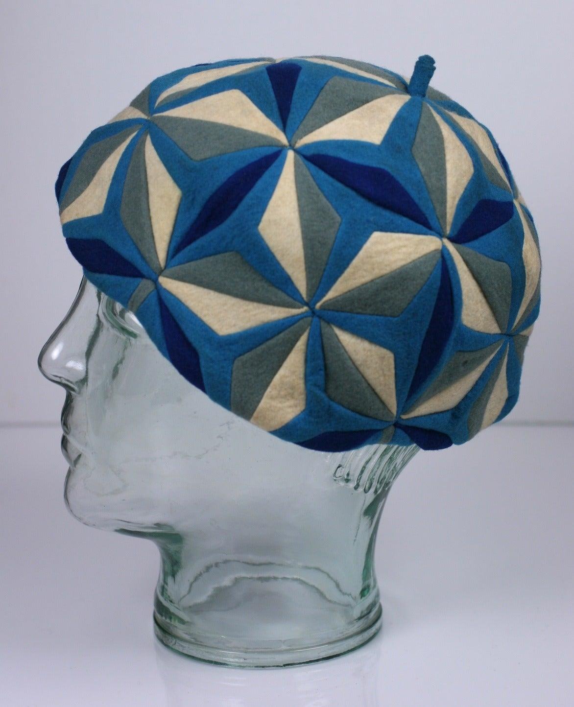 Blue Lenci Art Deco Cubist Wool Beret For Sale