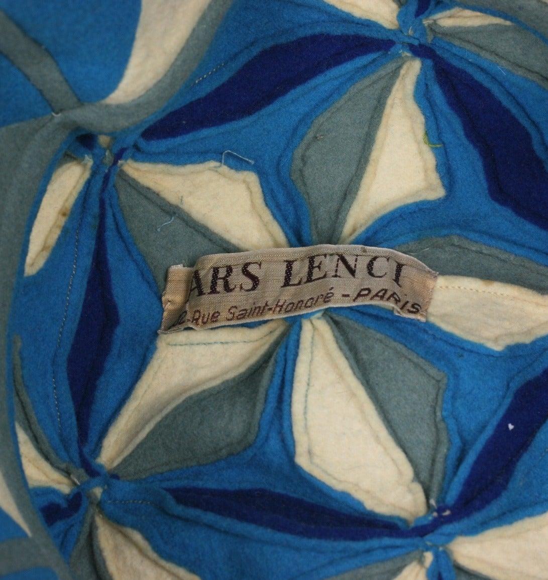 Lenci Art Deco Cubist Wool Beret For Sale 1
