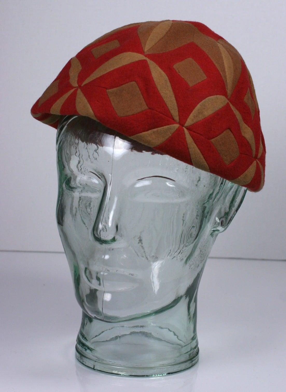 Women's Lenci Art Deco Pieced Hat For Sale
